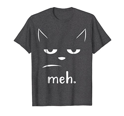 Mens Not Excited, Sarcastic, and Funny Meh Halloween Cat T-Shirt Small Dark Heather