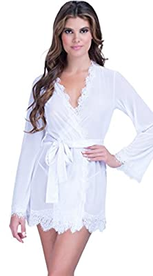 KingsCat® Kimono Robe Bathrobes Lace Border Sleepwear Lingerie Set 3 Pieces