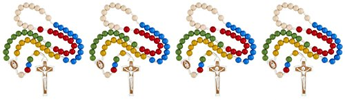 Mission Rosary World (Mulit Color Wooden Prayer Bead Laser Engraved Mission Rosary, 17 Inch (Pack of 4))