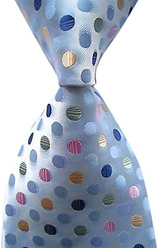 Allbebe Men's Classic Polka Dot Blue Green Jacquard Woven Silk Tie Necktie