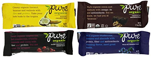 Pure Bar Organic Variety Pack, Fruit & Nut Bars, 1.7-Ounce Bars (Pack of 12)