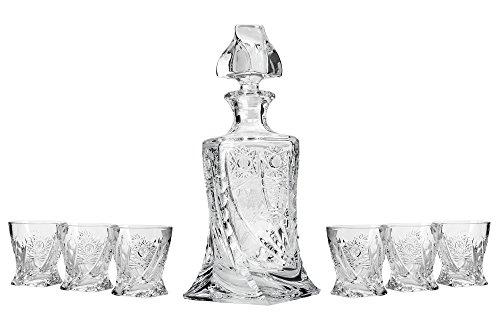 Bohemia Crystal 51353, 28 Oz. Crystal Cut Decanter & Six 11 Oz. Classic Whisky Scotch Glasses, Wedding Gift Crystal Cut Carafe & Whiskey Tumblers, 1+6-Piece (Armenian Brandy)