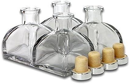 Frandy House - Botellas de cristal difusor con tapa de corcho, juego de 4 – 3,5 pulgadas de alto, 150 ml Accesorios de fragancia para difusor de varillas (no incluidas)