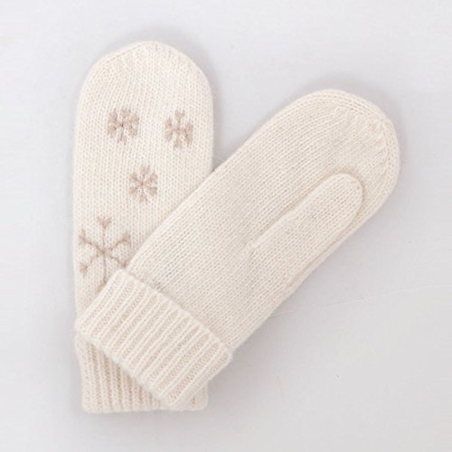 MATSU Women Lady's Wool Knit Mitten Winter Warm Snowflake Gloves Hand Warmer GCG203 (One Size, White)
