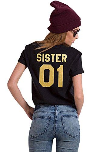 01 Magliette Corta Donna Best Cime Shirt Moda Estive Friend Tee Casuale Tunica Sister Minetom T 02 Manica NeroOro Tops Stampa uTOkwPXilZ