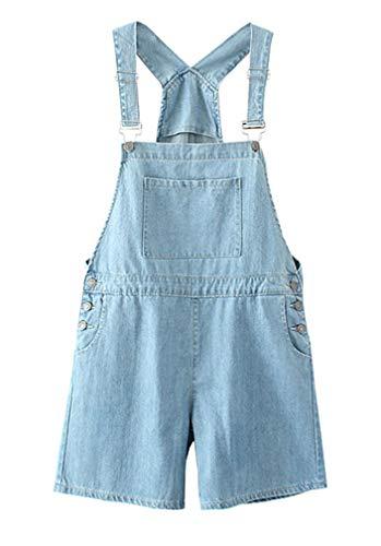 Soojun Women's Loose Fit Adjustable Denim Short Overalls, Light Blue, Medium