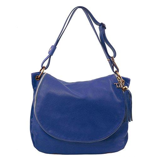 Tuscany Leather - TL Bag - Bolso en piel soave con borla y bandolera Beige - TL141110/98 Blue