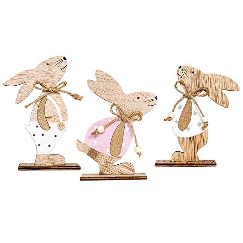Iusun 3PCS Easter Decorations Wooden Cute Rabbit Shapes Home Table Top Decor Pendant Wedding Festival Holiday Christmas Halloween Party Valentine's Day New Year Ornaments Craft Gifts 2PCS (A) ()