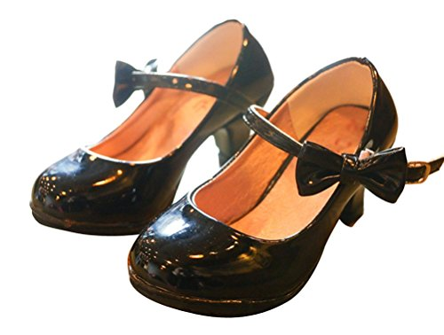 Brinny Elegante Mädchen Kinderschuhe Pumps in Lackoptik Schuhe mit hohen Absätzen Princess Hochzeit Abend Party Schwarz