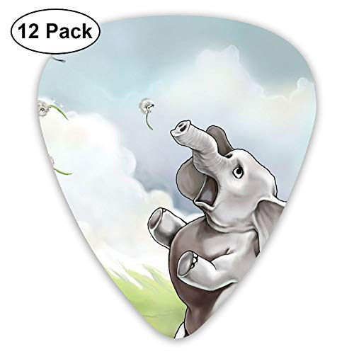 12-Pack Fashion Classic Electric Guitar Picks Plectrums Elephant Cartoon Drawing Instrument Standard Bass Guitarist -