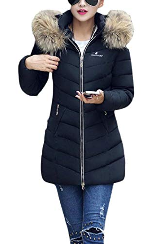 with Warm Womens Black Hooded Jackets Coats Outwear Parkas EKU xTOwWHFnBT