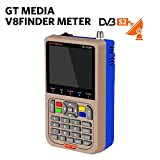 "GT Media V8 Satellite Finder Signal Meter Upgraded TV DVB-S2/S2X Receiver Sat Detector, HD 1080P Free to Air FTA 3.5"" LCD Built-in 3000mAh Battery for Adjusting Sat Dish"