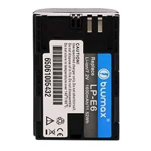 Blumax 65061 - Batería de ion de litio equivalente a Canon LP-E6 (7.4 V, 1600 mAh)