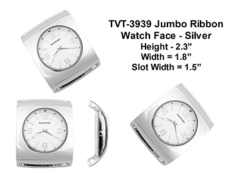 Silver Interchangeable Beaded Watch - PlanetZia Jumbo Ribbon Watch Faces for Your Interchangeable Beaded Bands TVT-3939 (Silver)