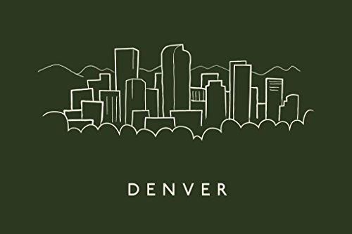 Denver Broncos Pencil - Denver City Skyline Pencil Sketch Art Print Mural Giant Poster 54x36 inch