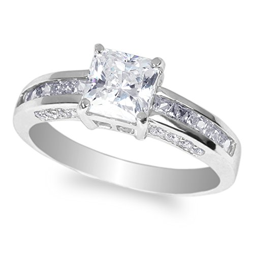 JamesJenny Ladies 10K White Gold 1.2ct Square CZ Engagement & Wedding Ring Size 9 ()