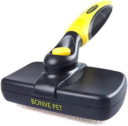 Bonve Pet Dog Brush, Self Cleaning Slicker Brush Pet Grooming Brushes Soft for Medium & Large Dogs Cats with Short to Long Hair, Professional Deshedding Tool – Reduces Shedding by up to 95%