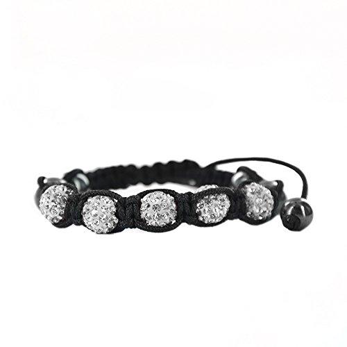 Twinkle Diamond Bracelet - Twinkle Shamballa Bracelet - Crystals Braided Beads Bangle - Good Energy Eight Crystals (White Color)