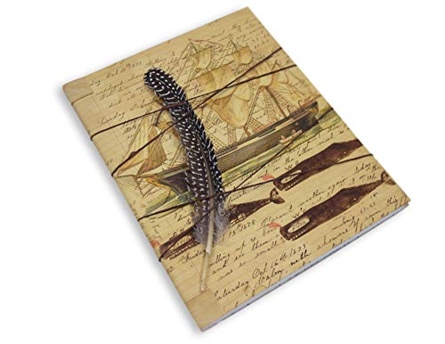 Whaling Boat (Whaling Ship Vintage Style Notebook with Feather Quill, 100 Lined Sheets, Made in USA)