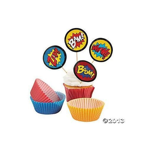 1 X Superhero Cupcake Picks and Baking Cups - 50 cups/50 picks New