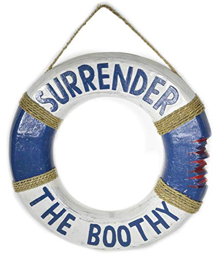 20in Hand Carved Wood Pirate Surrender the Boothy Life Saver Ring Buoy Sign Plaque Wall Art Decor