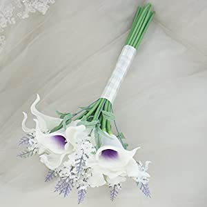 "Lily Garden Mini 15"" Artificial Calla Lily 16 Stem Flower Bouquets with Ribbon (Purple Center with Lavender) 4"