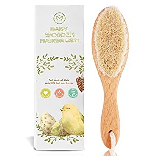 Baby Hair Brush for Newborn - Natural Wooden Baby Hairbrush Comb with Soft Goat Bristles for Cradle Cap - Perfect Scalp Grooming Hairbrush Comb Kit for Infant, Toddler, Kids - Newborn Baby Essential