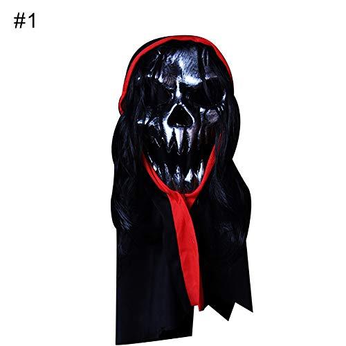 YuYe Horrible Bloody Monster Demon Mask Cosplay Halloween Costumes Party Headgear - 1# -
