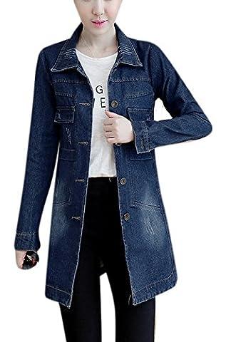 Women's Fall Washed Blue Denim Long Jacket Fashion Front Button Down Jean Coat M Dark Wash Blue - Denim Coat Jacket