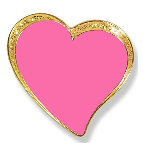 1 X 1 Inch Pink Heart Die Struck Enameled Lapel Pin with Sparkling Gold Border - Pack of 12