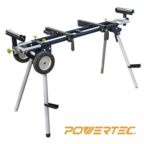 POWERTEC MT4000 Deluxe Miter Saw Stand with Wheels and 110V Power Outlet (Brackets Mounting Workstation Tool Saw)