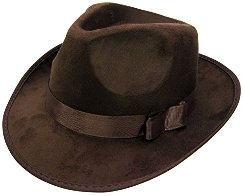 Jacobson Hat Company Men's Deluxe Fedora - Suede Finish, Brown, (Brown Fedora Hat)