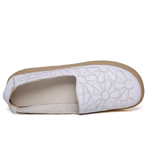 Slip Style1 Floral white Leather Flat New Toe Round Loafers On Shoes Women's Minibee 7PYEqwFP