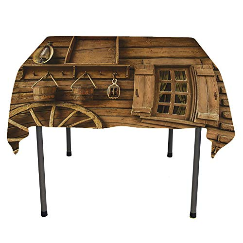 Western Decor Collection, Washable Table CoverAncient Wagon Wheel Rustic Wooden Vintage Lantern Window and Buckets Picture, for Kitchen Dining Party, 70x70 Inch Khaki (36 Wooden Wagon Wheel)