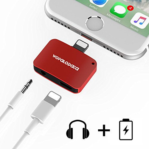 2 in 1 Lightning Adapter for iPhone 7/7 Plus,Wofalodata 2nd Generation Lightning to Aux 3.5mm Audio Headphone and Charge Cable Splitter Compatible for iOS 10.3 - Red
