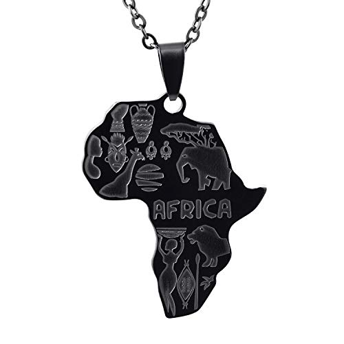FJ Africa Map Necklace Stainless Steel African Pendant Necklace for Men