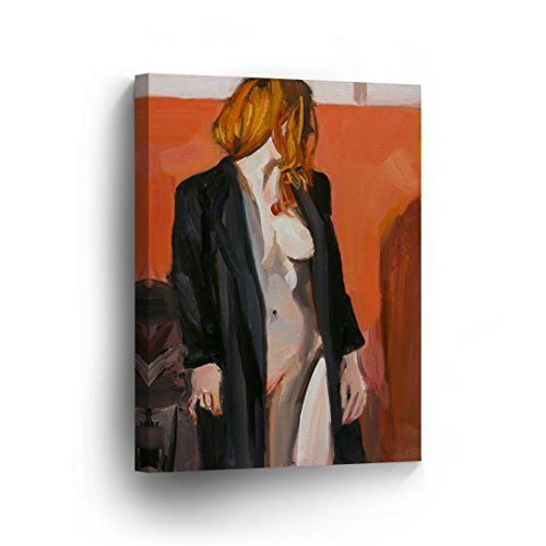 Sexy Woman in Black Jacket Nude Naked Oil Painting Lady Girl
