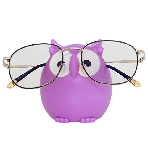 Homu Owl Sunglasses Eyeglass Holder Stand, Display Rack Smartphone Holder - Purple