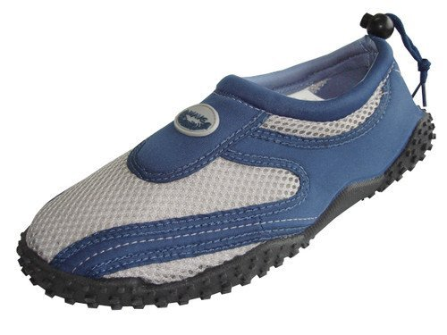 Men's Wave Water Shoes Pool Beach Aqua Socks, Yoga , Exercise, Navy/Grey 1185m, 13 D(M) US