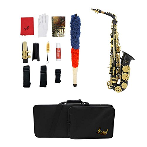Finish Black Lacquer - Baoblaze Exquisite Portable Lacquer Finish Brass E Flat Alto Saxophone Sax Stage Accessory - Black