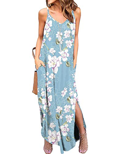 - LOMON Women's Summer Casual Loose V Neck Dress Sleeveless Beach Cover Up Long Cami Maxi Dresses with Pocket Light Blue