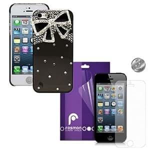 Quaroth Fosmon 4 in 1 Bundle for Apple iPhone 5 - 1x Fosmon GEM Series 3D Bling Hard Shell Design Case Cover, Fosmon ...