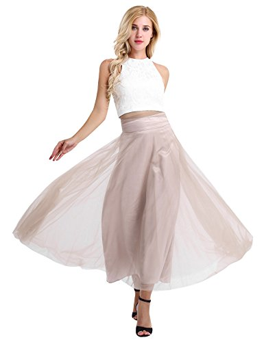 iEFiEL Women Sleeveless Lace Floral Tank Top + Mesh Maxi Skirt Two Piece Dress For Bridesmaid Evening Party White&Rose Brown (Mesh Maxi)
