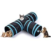 CO-Z Collapsible 3 Way Cat Tube Kitty Tunnel Bored Cat Pet Toys with Peek Hole and Toy Ball