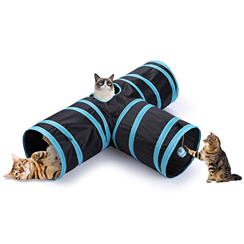CO-Z Collapsible 3 Way Cat Tube Kitty Tunnel Bored Cat Pet Toys with Peek Hole and Toy Ball for Cat, Puppy, Kitty, Kitten, Rabbit