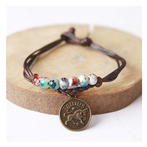 URUHR Women Girls Horoscope Zodiac 12 Constellation Astrology Ceramic Beads with Constellation Pattern Pendant Charm Bracelets-Taurus
