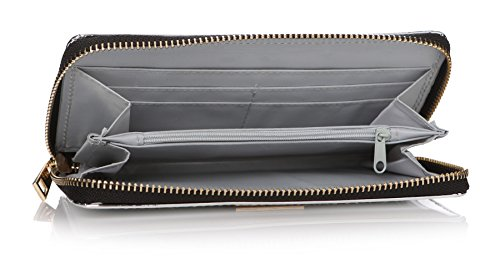 TA da argento metallizzato con zip portafoglio borsa frizione