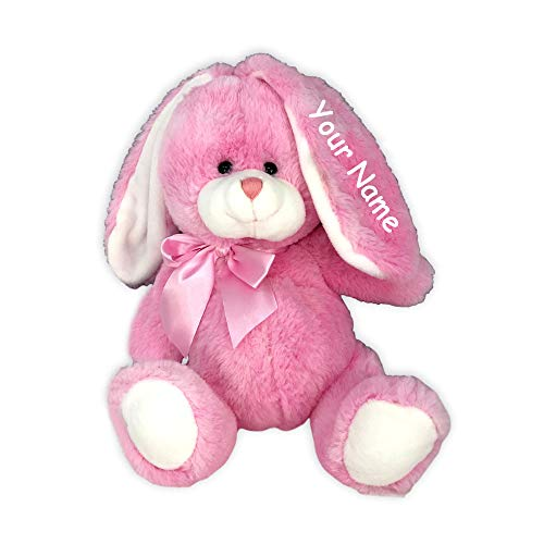 Fiesta Toys Personalized Pink Sitting Easter Bunny Big Belly and Bow for Girls Plush Stuffed Animal Toy with Custom Name (Pink Sitting Bunny)