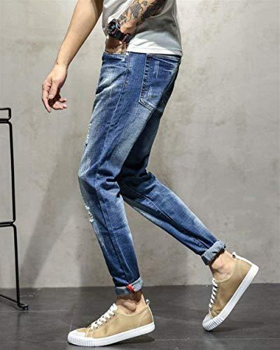 Da Slim Denim Piccoli Jeans Uomo Classiche 1911blau Con Lavati Pantaloni Casual Buco Fit Dritti T E Stretch Color Ragazzi fq7qwdg