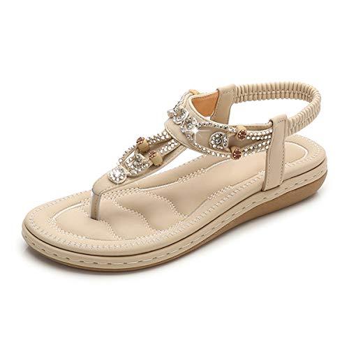 Zeetoo Flat Sandals for Women Casual Clip Toe Sandals Bohemia Rhinestone Flower Beaded Comfort T-Strap Sandals Beige 7.5-8 B(M) US